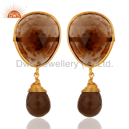 Smoky Quartz Briolette Gold Plated Earrings