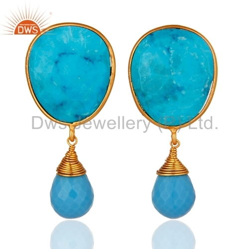 14k Gold Plated Sterling Silver Turquoise Earrings