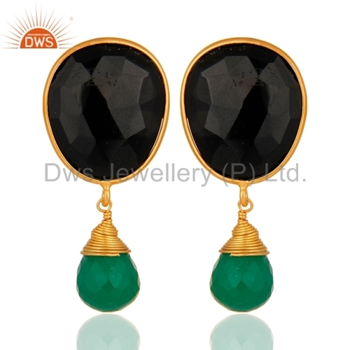 18k Gold Plated Sterling Silver Green Onyx & Black Onyx Earrings