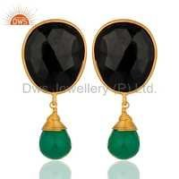 18k Gold Plated Sterling Silver Green Onyx & Black Onyx Earrings