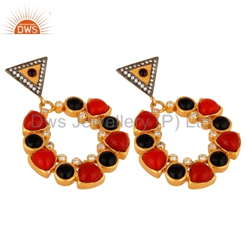 Black Onyx Gemstone 18K Gold Plated Earring