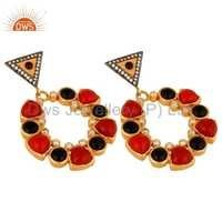 Black Onyx Gemstone 18K Gold Plated Earring