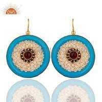Blue Bakelite Pearl Earrings