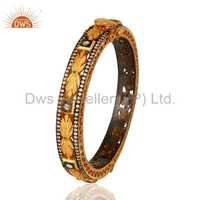 18k Gold Plated 925 Silver Cubic Zirconia Bangle