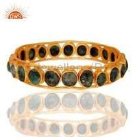 24k Gold Plated Emerald Gemstone Bangle