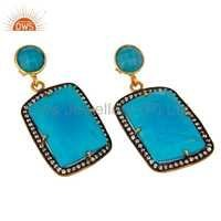Turquoise 18K Gold Plated Brass Earrings