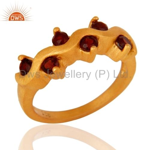 Gold Plated Silver Garnet Gemstone Ring Jewelry