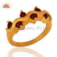 Gold Plated Silver Garnet Gemstone Ring Jewelry