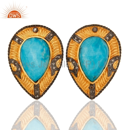 925 Silver Turquoise Pave Diamond Earrings