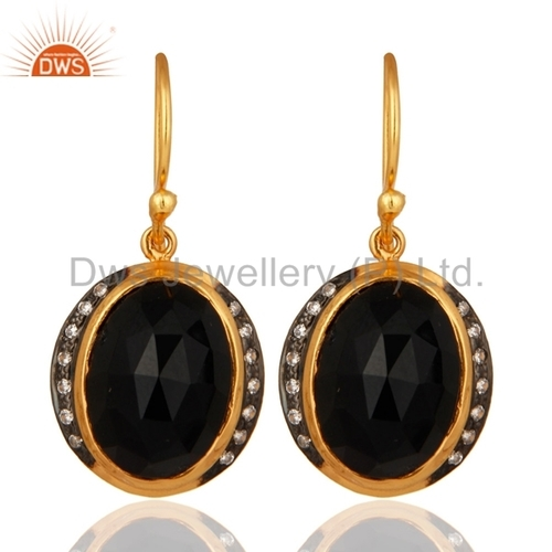 Black Onyx 18K Gold Plated Earrings