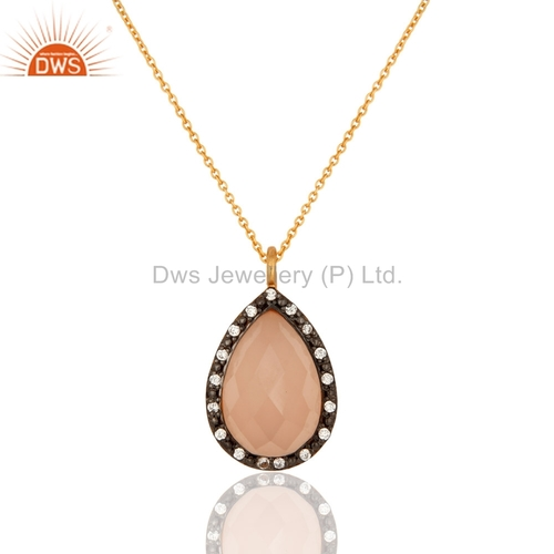 18K Gold On Sterling Silver Rose Chalcedony Pendant