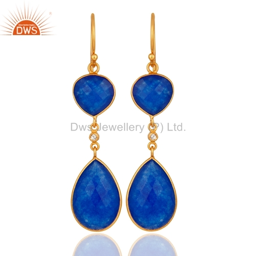 18K Gold Plated Sterling Silver Blue Chalcedony Earrings