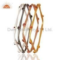 Gold Plated Red Cubic Zirconia Bangles Set