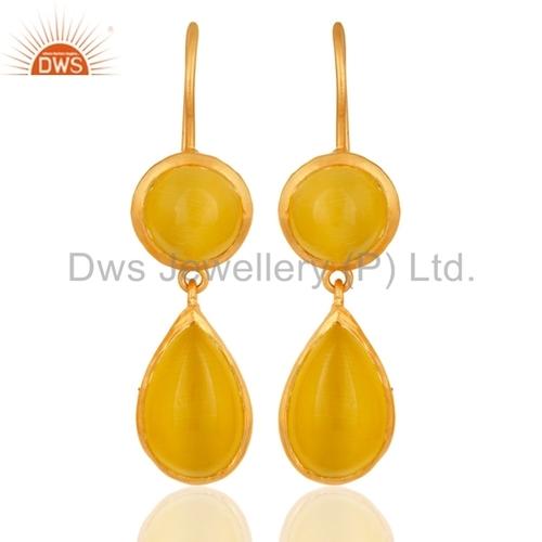 14K Gold Over Sterling Silver Moonstone Earrings