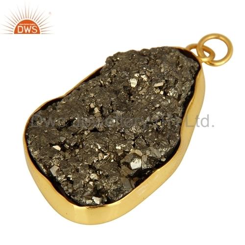 Gold Vermeil Sterling Silver Pyrite Druzy Pendant