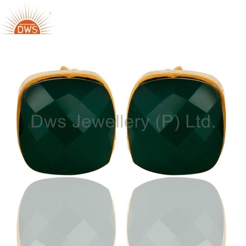 Green Onyx Gemstone Gold Vermeil Earrings