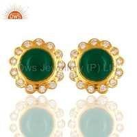 Green Onyx Gemstone 18K Gold Plated Earrings