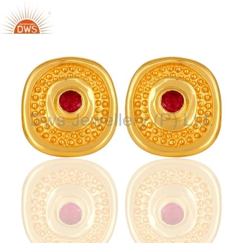 Red Aventurine 14K Gold Plated Brass Earrings