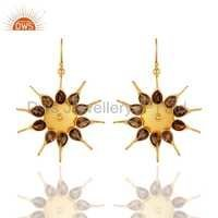 Designer Gold Plated Silver Smoky Quartz Gemstone Earrings Jewelry