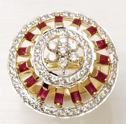 18K Gold Gemstone Diamond Ring
