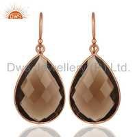 18K Rose Gold Plated Sterling Silver Smoky Quartz Earrings