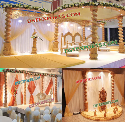 Wedding Spiral Wooden Mandap Set