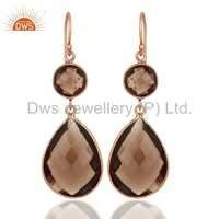 Smoky Quartz Rose Gold On Sterling Silver Earrings