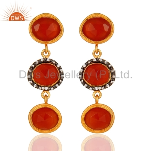 Sterling Silver Carnelian Gemstone Gold Plated Earrings