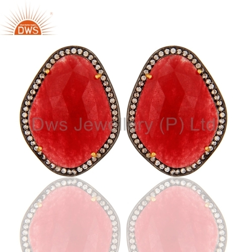 Gold Vermeil Sterling Silver Red Aventurine Earrings