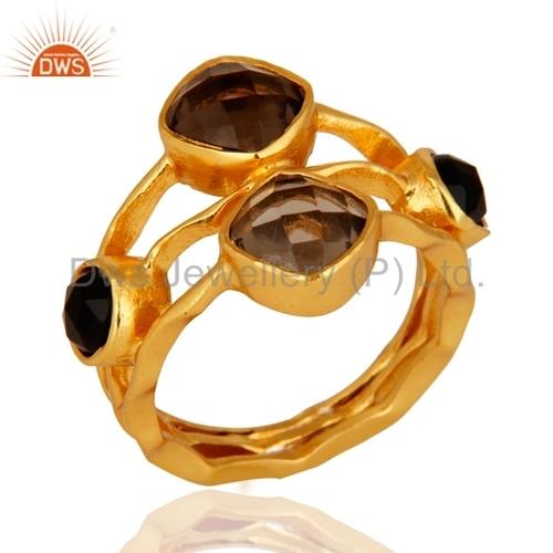 14k Gold Plated Smoky Quartz & Black Onyx Ring