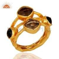 14k Gold Plated Smoky Quartz & Black Onyx Ring