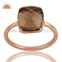 18K Rose Gold Plated Sterling Silver Smoky Quartz Ring