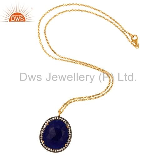 Blue Aventurine 14K Gold Plated Pendant