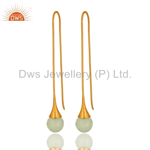 Synthetic Green Chalcedony Gold Plated Long Hoop Earrings
