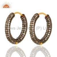 Solid 14K Gold Pave Setting Diamond Hoop Earrings