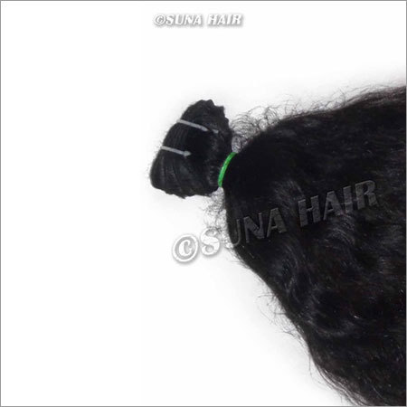 Wonderful quality natural black color silky curly weft malaysian hair ex