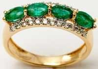 Modern Diamond Emerald Ring
