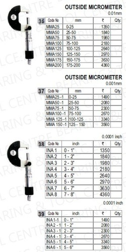 Precision External Micrometers (Analog)