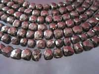 6-7mm faceted box 8 inch  starnd natural pyrite beads 28 pcs,