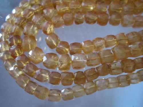 8 inch citrine faceted box beads strand 7mm 30 pcs