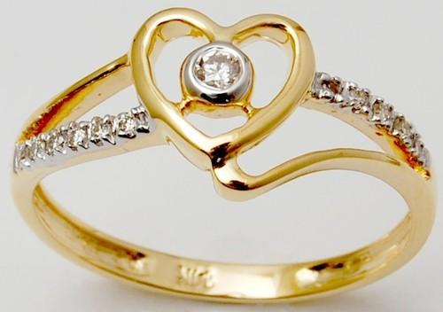 18K Solid Yellow Gold Diamond Ring