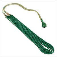 372 cts natural emerald faceted beaded necklace 3-5mm 4 starnd necklace 18 inch -21 inch