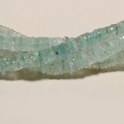 7 inch aquamarine faceted tyre beads one starnd  gemstone  5mm-6mm