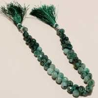9 INCH NATURAL EMERALD FACETED ONION BEADS ONE STRAND 7MM-8MM 55-58PCS