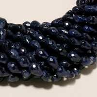 18 INCH BLUE SAPPHIRE FACETED DROPS 5X7MM TO 8X12MM ONE STRAND BEADS