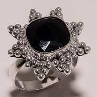 black onyx faceted square 12mm cut stone ring