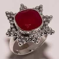 pink chalcedony 12mm faceted cut stone ring