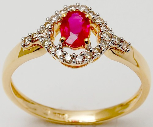 Ruby Diamond Solitaire Ring