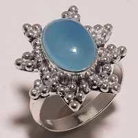 aqua chalcedony cabochon 9x12mm stone ring