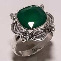 green onyx 12mm faceted cut stone ring